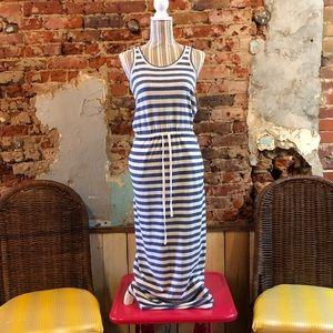 Nautical sleeveless blue & white stripe maxi dress